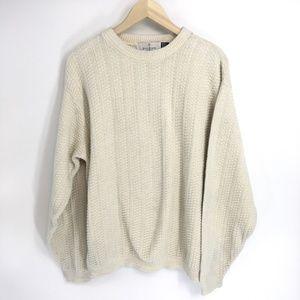 Bill Bass Ivory Crew Neck Knit Sweater